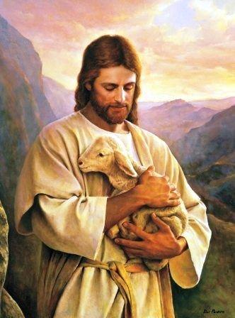 jesus christ the shepherd with lambs